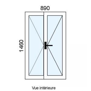 Fenêtre PVC 2 vantaux L890...