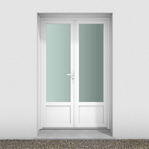 fenetre pvc gamme efficience - Porte-fenêtre 2 vantaux - serrure - soubassement lisse